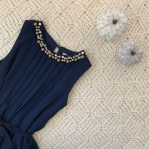 Monteau | Girl Navy Dress with Fancy Neckline